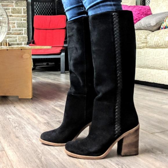 04c533d12f6 Ugg Black Maeva suede heeled tall boot NWT